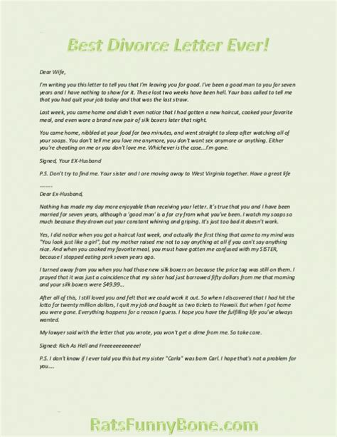 Divorce Letter Story Best Divorce Letter Humor