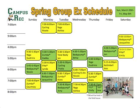 Brockport Academic Calendar Exercise Schedule The College At Brockport