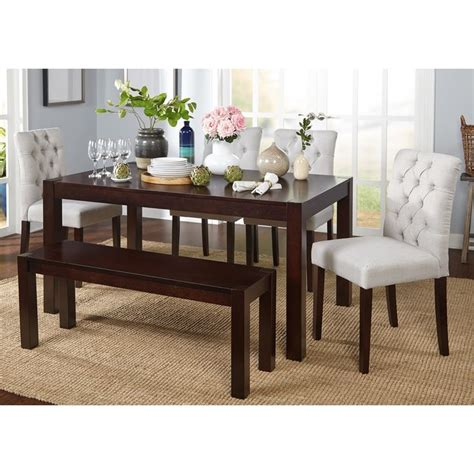 shaker espresso 6 dining table set with bench 25 best ideas about dining set with bench on