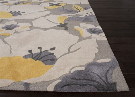 area rug black white grey pattern rugs floral decor floor jaipur rugs modern floral pattern gray yellow polyester