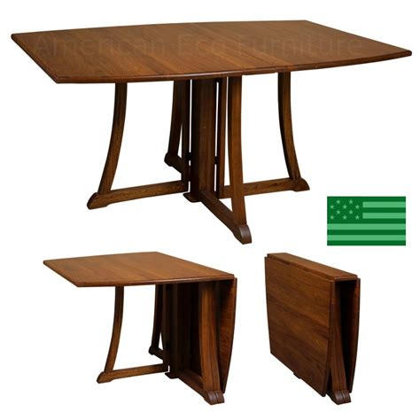 Wood Folding Dining Table Amish Solid Wood Heirloom Furniture Made In Usa Folding Dining Table American Eco