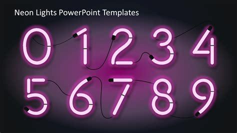 Number Shapes In Neon Color Slidemodel Neon Sign Template