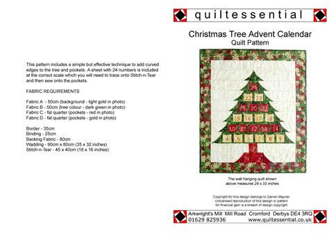 Patchwork Advent Calendar Pattern - buy patchwork quilt patterns designed exclusively for