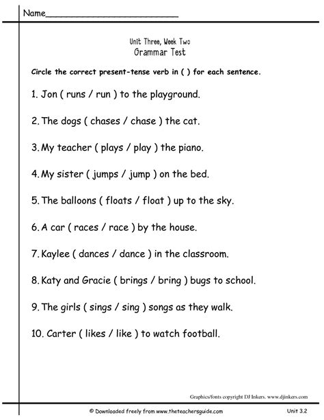 worksheets for verbs for grade 2 15 best images of present tense practice worksheets verb