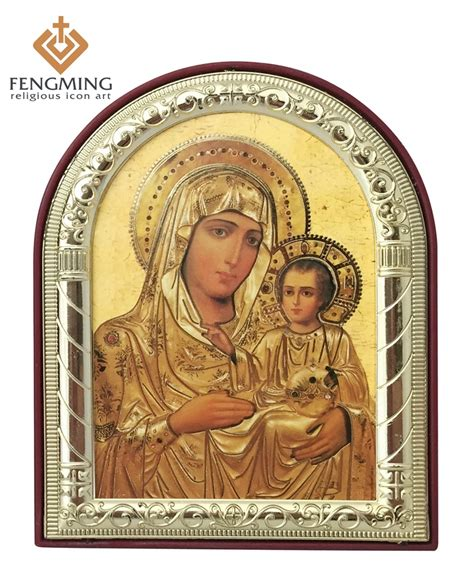 Ordinary Greek Orthodox Church Supplies #7: Can-custom-Religious-gifts-home-decoration-Metal-silver-gold-frame-mother-mary-picture-Jerusalem-baby-Jesus.jpg