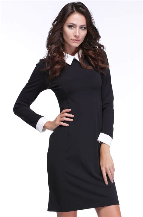 Womens Black Blouse With White Collar by Black Dress Shirt White Collar Cocktail Dresses 2016