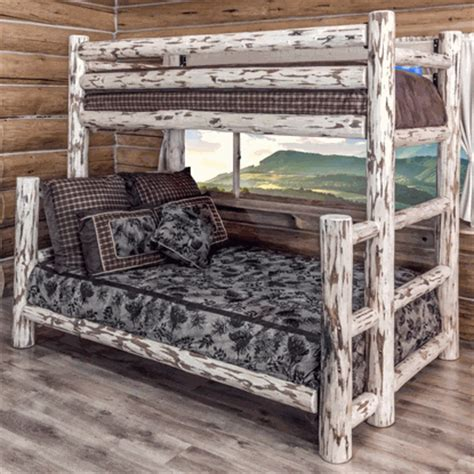 Pine Log Bunk Beds Amish Quot Montana Quot Pine Log Bunk Bed