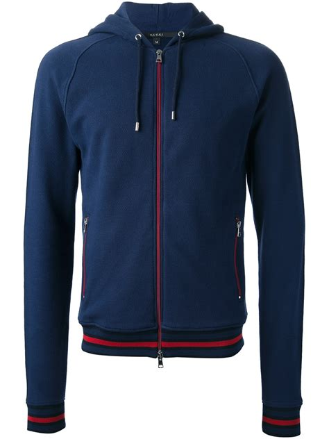 Blue Zip gucci zip hoodie in blue for lyst
