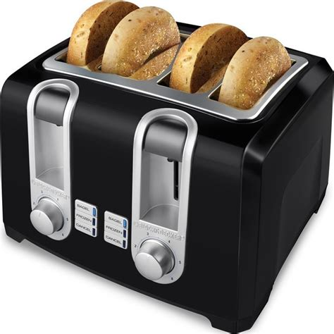 Black Toaster black decker 4 slice countertop toaster w wide toast bread bagel slots 50875803473 ebay
