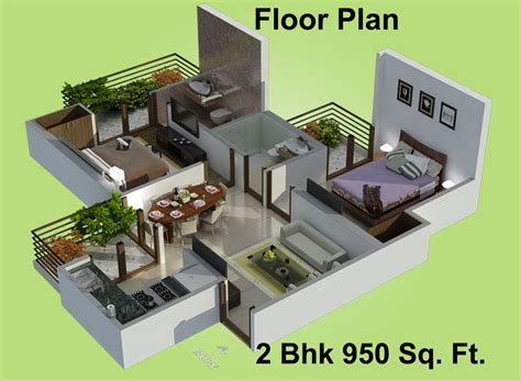 Best 2 Bhk House Plan 950 Sq Ft 2 Bhk 2t Apartment For Sale In Charms India