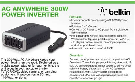 Ac Sharp 300 Watt belkin 300 watt dc ac inverter 2 outlet at tigerdirect