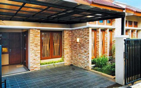 teras rumah batu alam dengan rumah minimalis