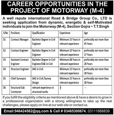 Career Opportunity In The Project Of Motorway M4 2017