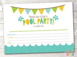 pool printable invitation fill in blank invite blue
