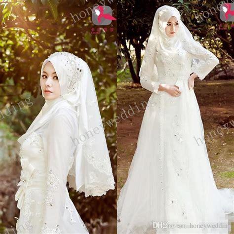 Gaun Mermaid Putih Baju Pengantin Berhijab Wedding Gown New 2014 Saudi Arabia Muslim Wedding Dress High Neck