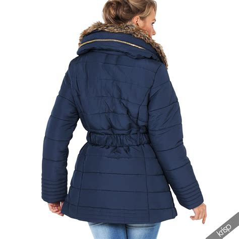 Coat Jaket 1 womens 2 in 1 fur collar quilted puffer puffa