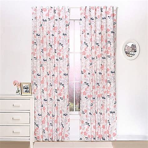 Coral Blackout Curtains The Peanut Shell 174 Floral Blackout Window Curtain Panel Pair In Coral Buybuy Baby