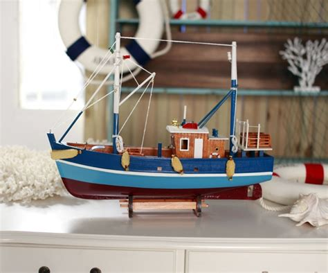 Mini Handmade Wood Model Ship - handmade solid wood fishing boat miniature scale model