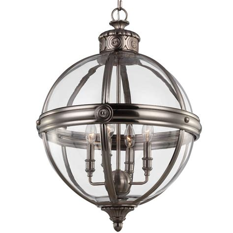 feiss 4 light antique nickel chandelier f2931 4anl