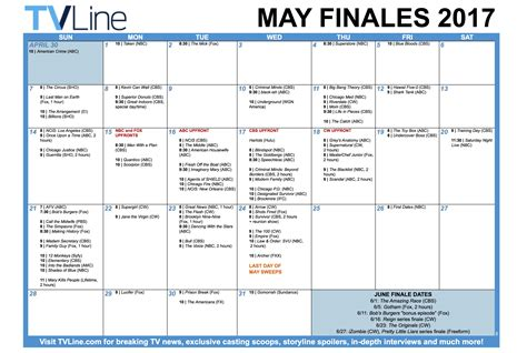 Calendar Schedule Tv Schedule May June 2017 Finale Calendar Tvline