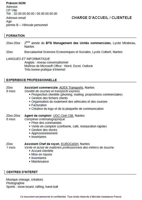 Exemple De Cv étudiant by Resume Format Lettre De Motivation Cv Etudiant