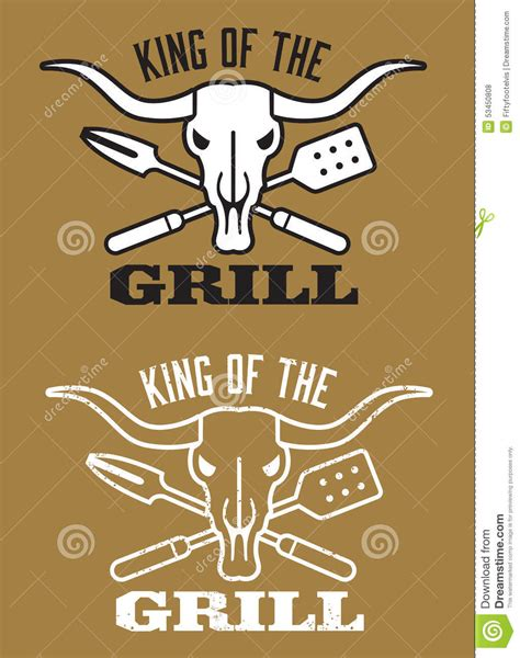 cing utensils king of the grill barbecue image with cow skull and