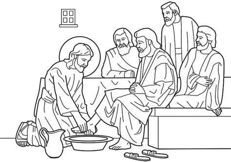 jesus washes his disciples feet coloring pages bible