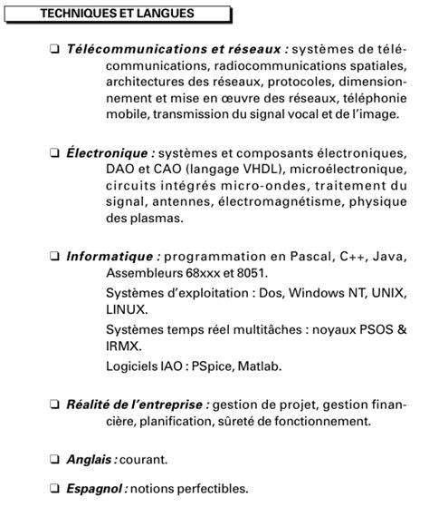Comment Rédiger Un Cv En Franàçais by Resume Format Pr 233 Sentation Cv Langues