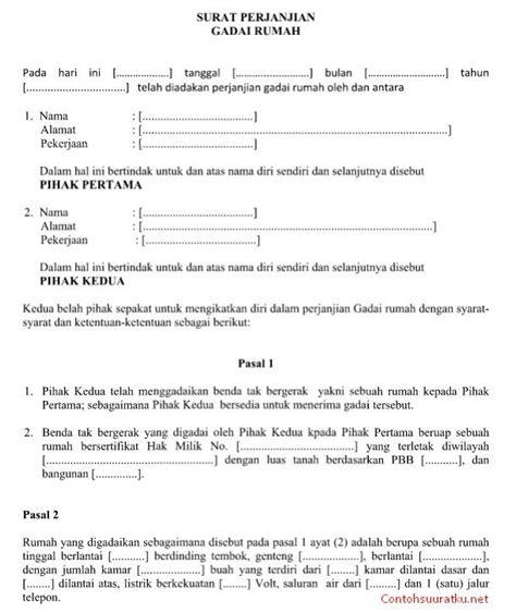 contoh surat perjanjian gadai emas format contoh surat perjanjian gadai rumah file ms word