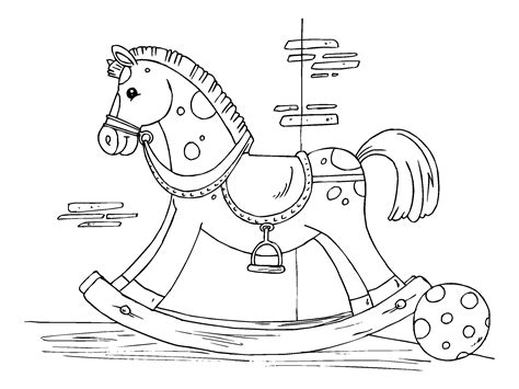 coloring pages rocking horse coloring page rocking horse