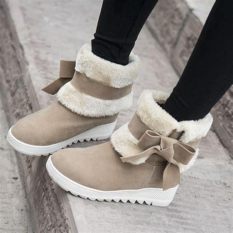 warm winter ankle boots bowtie faux fur low