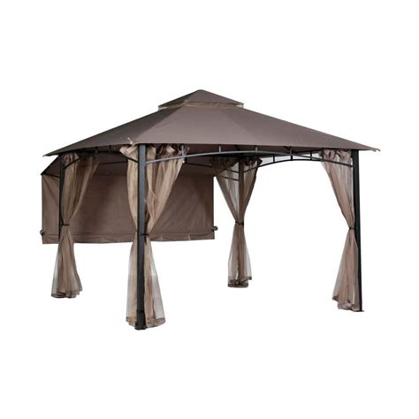 replacement awnings for gazebos hton bay shadow hills 10 ft x 10 ft roof style garden house awning replacement