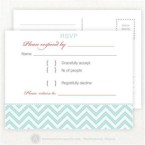 Blank Rsvp Card Template by Printable Rsvp Card Blue Chevron Wedding Reply Postcards