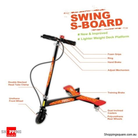 board swing 3 wheels swing board swing scooter bonus protection kit