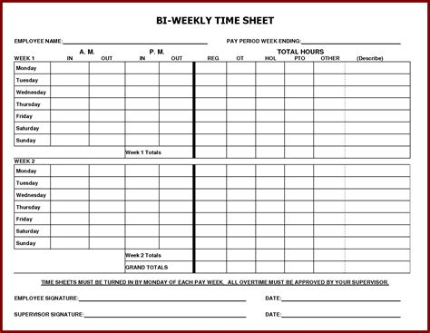 time card excel template 2 week printable weekly time sheets it resume cover letter sle