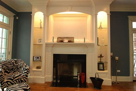 Lights Around Fireplace by Narrow Built In Bookcase With Light Around Fireplace