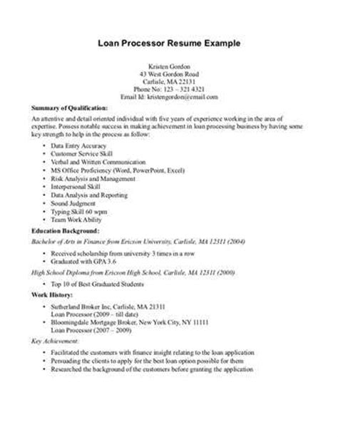 Sle Resume For Loan Processor by Description Of Loan Processor Resume