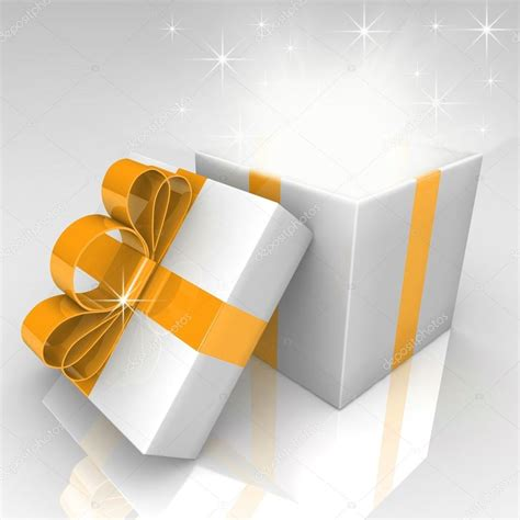 Bow Gift Box open gift box with bow stock photo 66404543