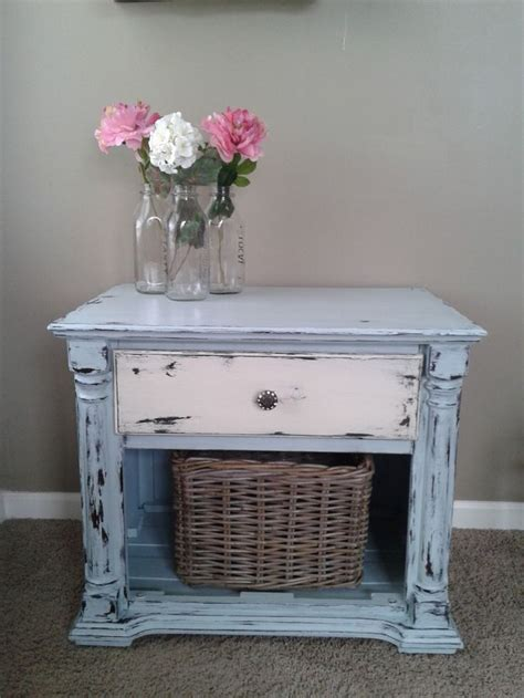 shabby chic coastal blue off white end table night stand w weather