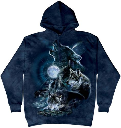 bark at the moon wolf hoodie and shirts made of usa cotton