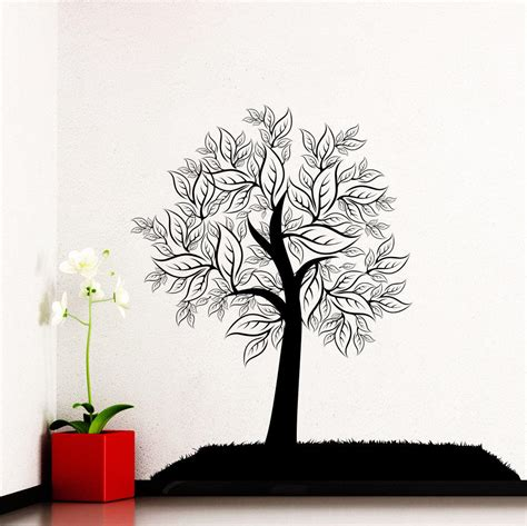 tree silhouette wall sticker wall decal tree silhouette leaves forest from decalsfromdavid on