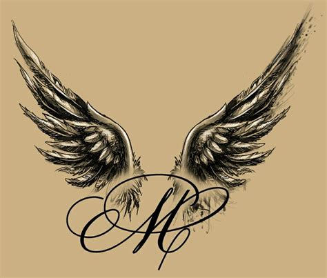 tattoo lettering with angel wings angel winged m tattoo design my tattoo designs