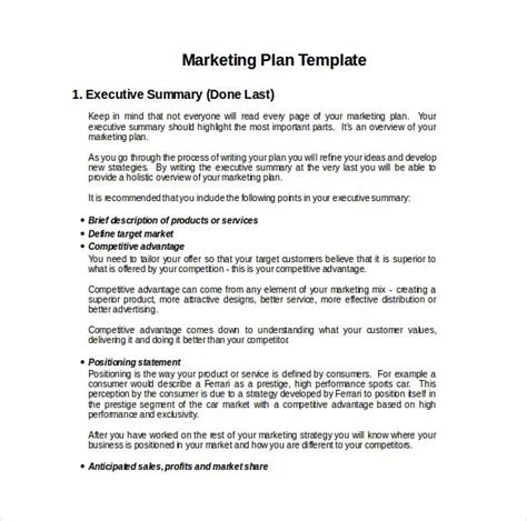 marketing plan templates marketing plan exles