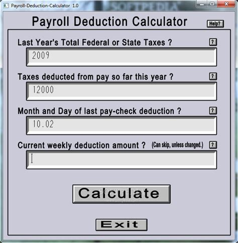 payroll deduction calculator 1 0 incl
