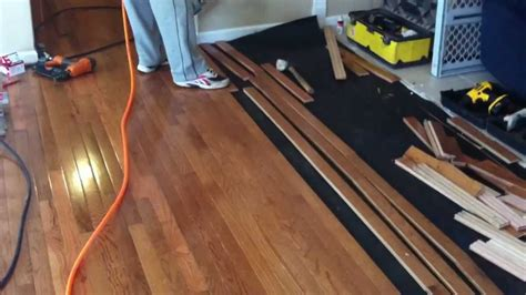 Installing Hardwood Floors Next To Existing Hardwood How To Install Prefinished Hardwood Flooring