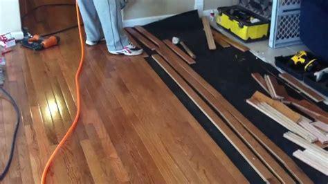 How to install prefinished hardwood flooring   YouTube