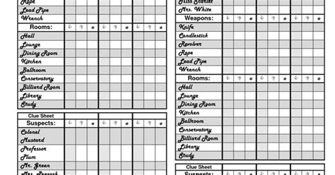 clue score cards template clue printable score sheets books