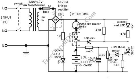 car battery charger diagram schematic 12v car battery charger 1n4001 circuit diagram world