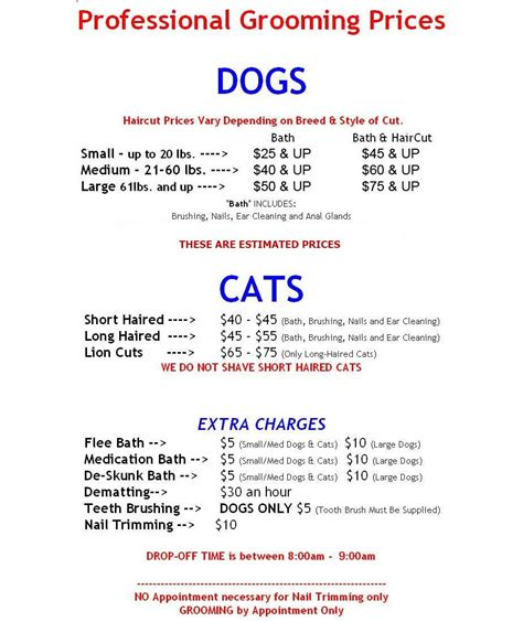 Dog Grooming Price List Yahoo Image Search Results New Shop Pinterest Price List Image Grooming Price List Template