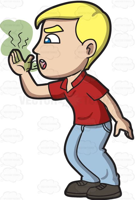 breath smells bad a attempting to smell his bad breath clipart vector